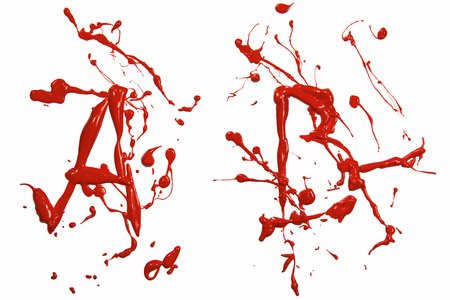 Letter a and b painted red Stock Photo