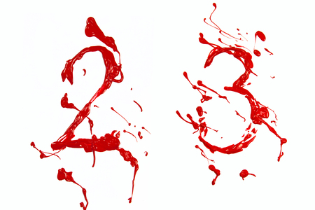 Number two and three painted red Stock Photo