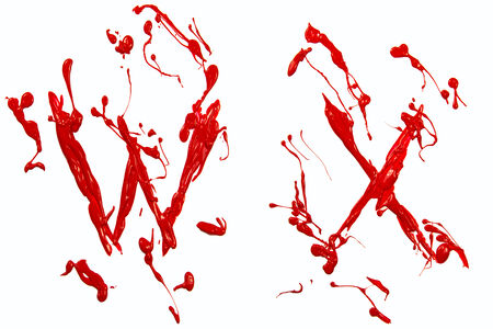 Letter w and x painted red Stock Photo