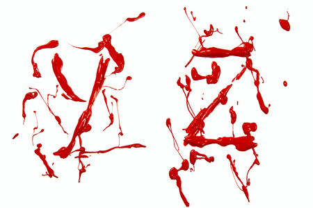 Letter y and z painted red