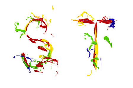 Letter s and t painted colorful