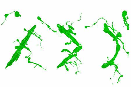 slash: Bracket and slash sign painted green paint
