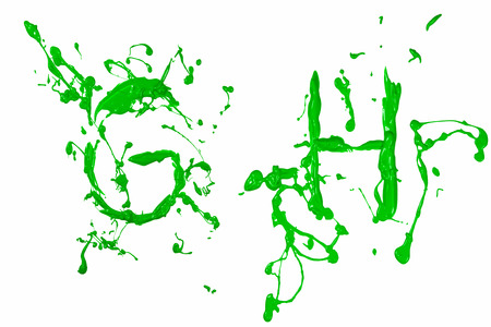 liquid g: Letter g and h painted green