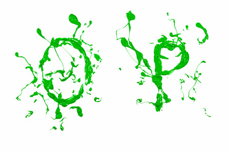 Letter o and p painted green