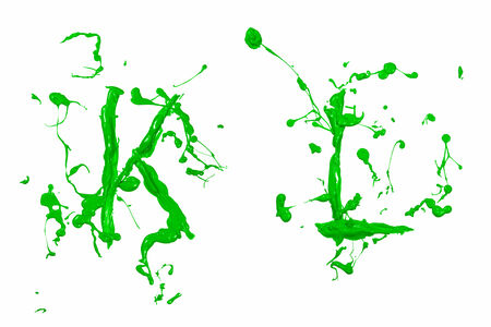 Letter k and l painted green