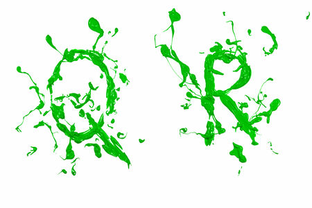 Letter q and r painted green Stock Photo