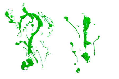 Question and esclamation marks painted green paint Stock Photo
