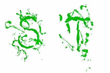Letter s and t painted green