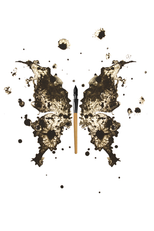 Butterfly made of black ink and pen Stock Photo