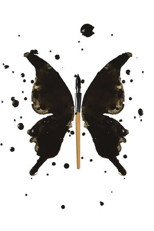 Black butterfly concept made of ink and pen
