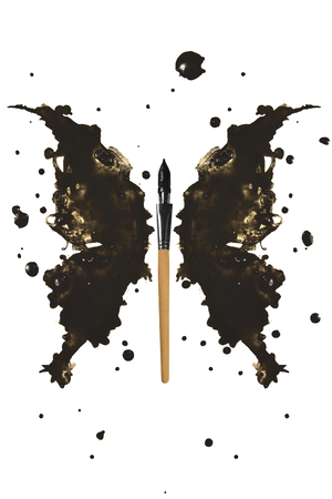 ink stain: Black butterfly made of ink stain