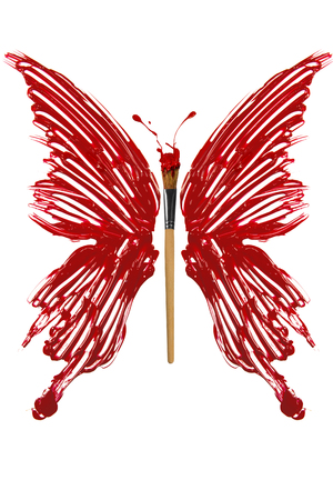 Butterfly made of red paint and paintbrush