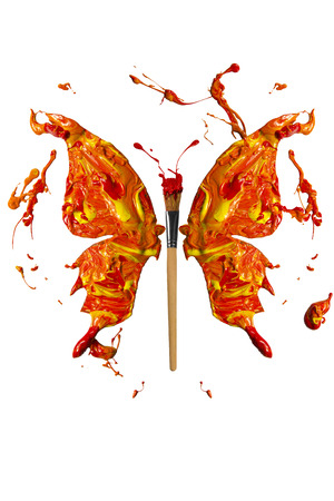 Hot colors and paintbrush made butterfly Stock Photo