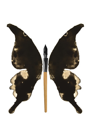 Black ink and pen made butterfly
