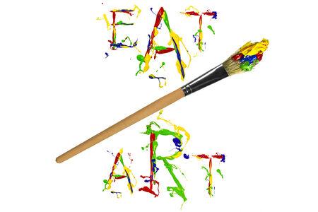 slogan: Artistic multicolor paint slogan and paintbrush