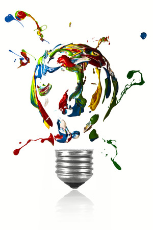 Paint explosion in the shape of light bulb
