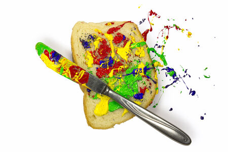 Colorful playfully paint spread on the bread