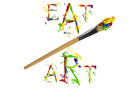 Artistic multicolor paint slogan and paintbrush