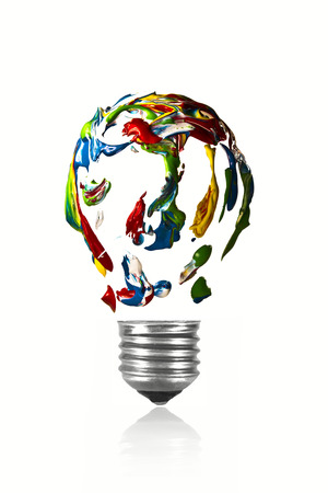 Mixed paint in the shape of light bulb Stock Photo