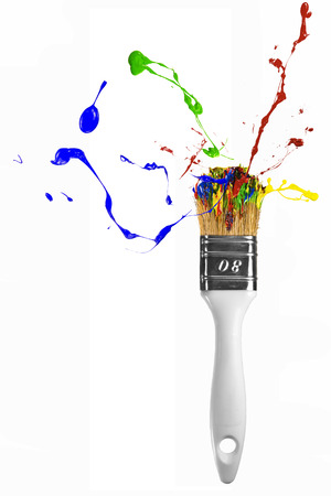 White isolated paintbrush with multicolor paint explosion Stock Photo