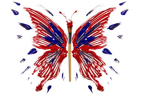 Red and blue painted butterfly with paintbrush