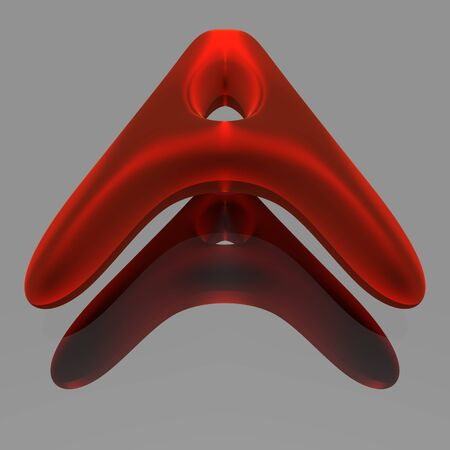 red metallic: Red metallic 3d font above the mirror