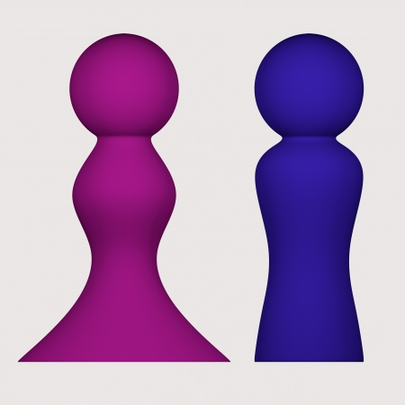 orthographic: Rendered 3d models - orthographic front view - colored figures of man and woman - isolated
