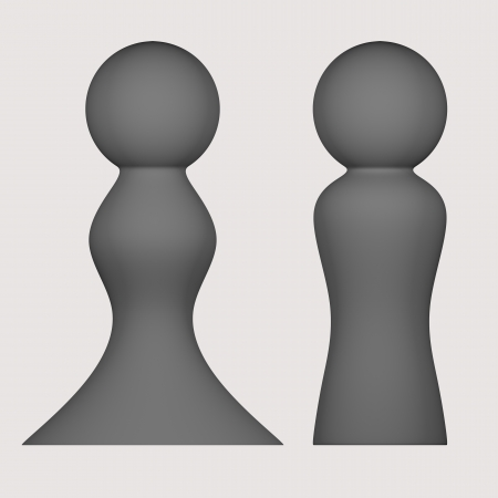 orthographic: Rendered 3d models - orthographic front view - gray figures of man and woman - isolated