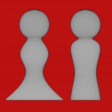 orthographic: Rendered 3d models - orthographic front view - wire figures of man and woman - isolated