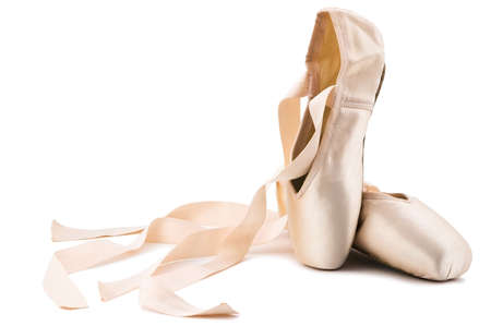 ballet shoes: brand new ballet shoes on a white background Stock Photo
