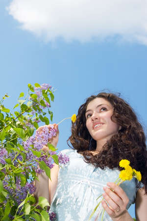 A white girl at the summer landscape Stock Photo - 1269571