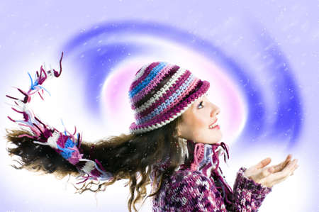 a young girl watching  the cold blizzard Stock Photo - 1788929