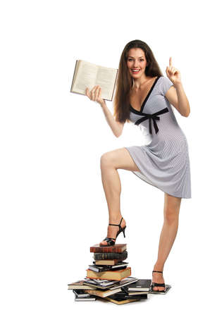 A girl with a book on the white background