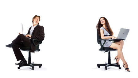 girl and man sitting together with the laptops Stock Photo