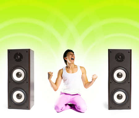 a young man listening to modern music Stock Photo - 2053898