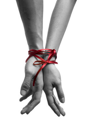 mans: mans and  girls hands tieing with ribbon