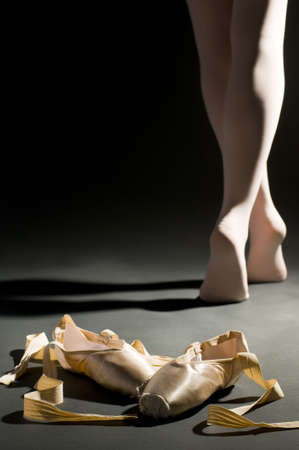 ballet shoes: ballet schoes on the dark hall floor