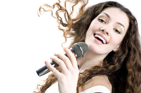 pop singer: pretty girl singing at the revelry party