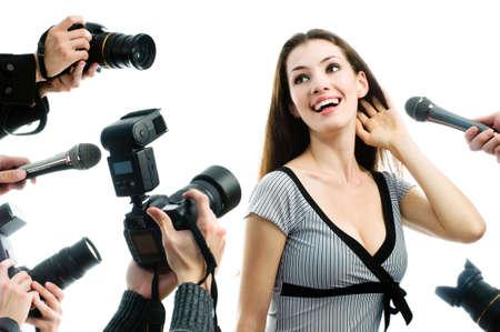 Photograthers está tomando una imagen de una estrella de cine  Foto de archivo