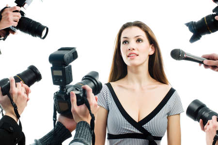 celebrities: Photograthers are taking a picture of a film star  Stock Photo