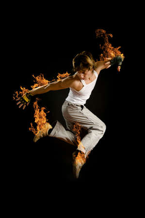 a young nice man dancing modern dances Stock Photo - 3756589