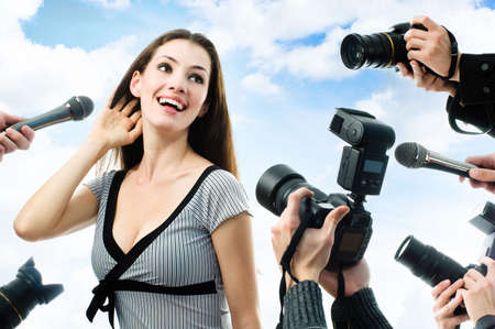 actress girl: Photographers are taking a picture of a film star  Stock Photo