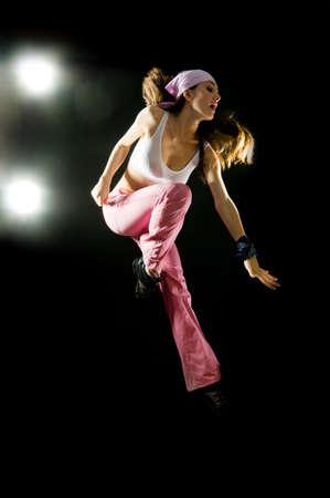 a young nice girl dancing modern dances Stock Photo
