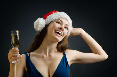 young smiling girl looking forward to christmas photo