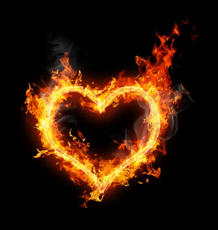burning love: luminoso simbolo Flamy sullo sfondo nero