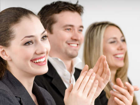 team of successful smiling young business people Stock Photo - 4162289