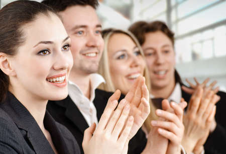 team of successful smiling young business people Stock Photo - 4205242