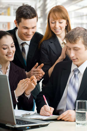 team of successful smiling young business people Stock Photo - 4493529