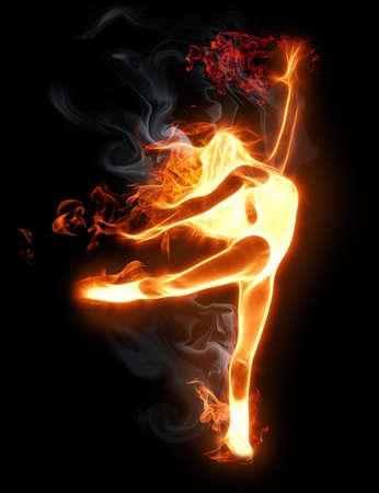 ragazze che ballano: luminoso simbolo Flamy sullo sfondo nero
