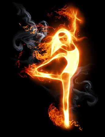 T�nzerIn: hell flamy Symbol auf dem schwarzen Hintergrund
